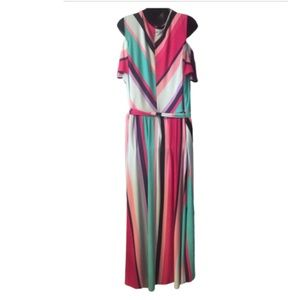 Lane Bryant Dresses - Lane Bryant Cold Shoulder Striped Maxi Dress